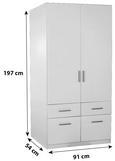 Omara Za Oblačila Celle - aluminij/bela, Moderno, umetna masa/les (91/197/54cm) - Premium Living