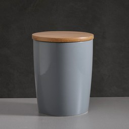 Prozellandose Haku mit Deckel - Naturfarben/Grau, MODERN, Holz/Keramik (13/17cm) - MÖMAX modern living