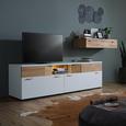 TV-Element aus Eiche Massiv - Edelstahlfarben/Schwarz, MODERN, Holzwerkstoff/Kunststoff (200/60/50cm) - Premium Living