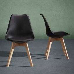 Stuhl Rocky - Buchefarben/Schwarz, MODERN, Holz/Kunststoff (48/80/43,5cm) - Mömax modern living