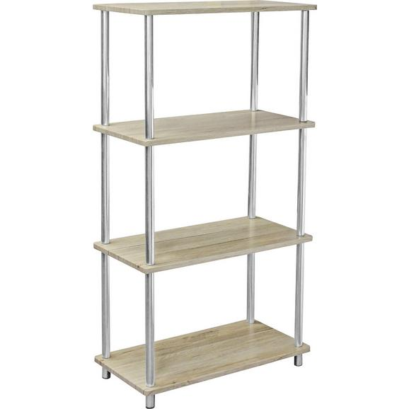 Etajeră Timilli 2 - culoare lemn stejar/culoare crom, Modern, compozit lemnos/metal (60/111,5/30cm)