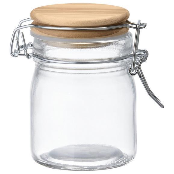 Vorratsglas Espen mit Deckel Ø ca. 6,7cm - Klar/Kieferfarben, MODERN, Glas/Holz (6,7/9,2cm)