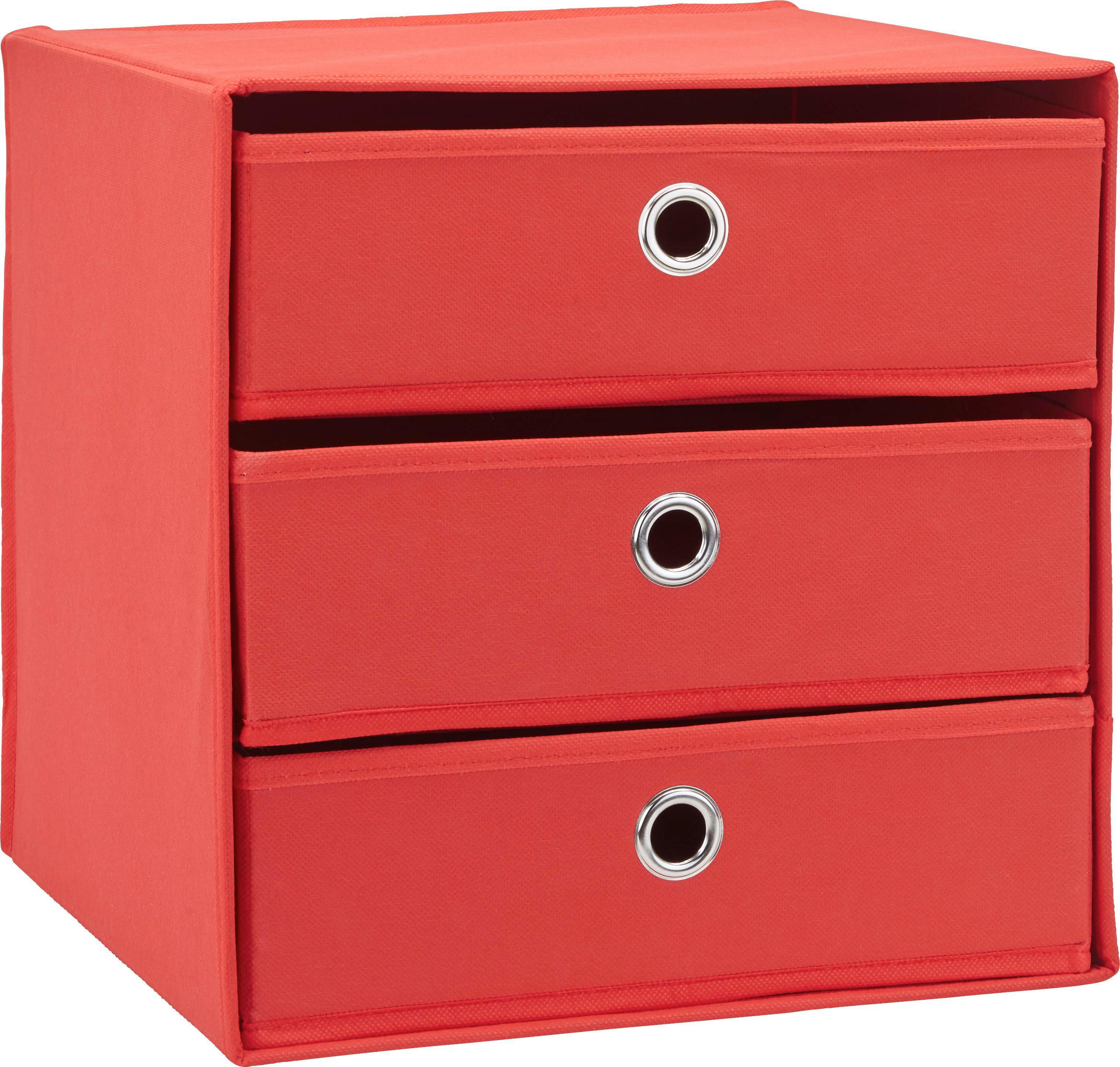 Schubladenbox Mona in Rot ca. 32x31,5cm - Rot, MODERN, Karton/Textil (32/31,5/32cm) - MÖMAX modern living