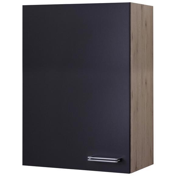 Küchenoberschrank Anthrazit/Eiche - Edelstahlfarben/Eichefarben, MODERN, Holzwerkstoff/Metall (60/89/32cm) - FlexWell.ai