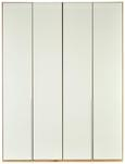 Drehtürenschrank in Weiß aus Glas - Eichefarben/Alufarben, ROMANTIK / LANDHAUS, Holzwerkstoff/Metall (180/236/58cm) - Premium Living
