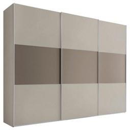 Schwebetürenschrank Includo B:298cm Sand/ Umbra Dekor - Taupe/Sandfarben, MODERN, Holzwerkstoff/Metall (298/222/68cm) - Bessagi Home