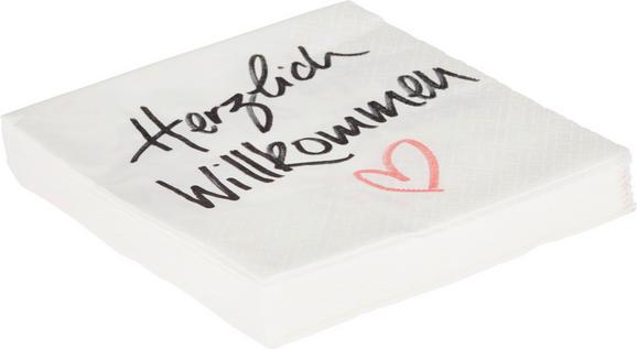 Serviette Herzlich Wilkommen in Weiß - Schwarz/Rosa, Papier (33/33cm)
