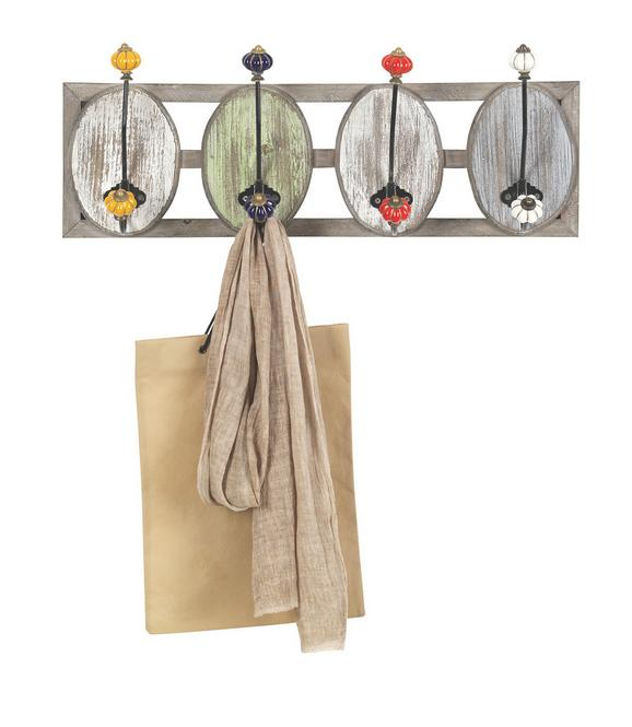 Wandgarderobe Anna - Multicolor, KONVENTIONELL, Holz/Keramik (55/21/12,5cm) - Premium Living