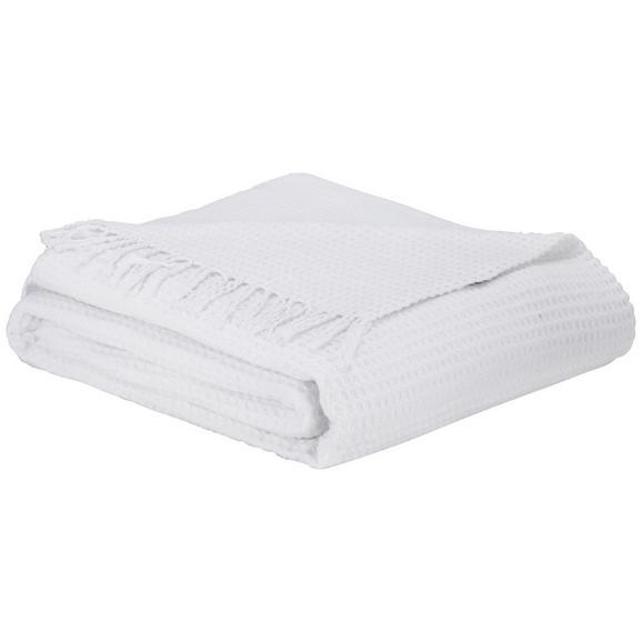 Decke Alice in Weiß ca. 150x180cm - Weiß, ROMANTIK / LANDHAUS, Textil (150/180cm) - Zandiara
