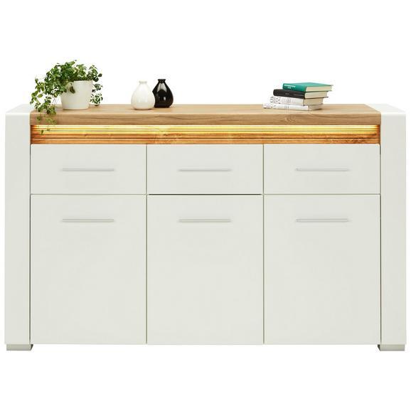 Sideboard in Weiß Hochglanz - Chromfarben/Eichefarben, MODERN, Holzwerkstoff/Kunststoff (160/96,5/40cm) - Modern Living