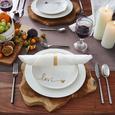 Dessertteller Gloria in Weiß/Gold - Goldfarben/Weiß, MODERN, Keramik (20,5cm) - Mömax modern living