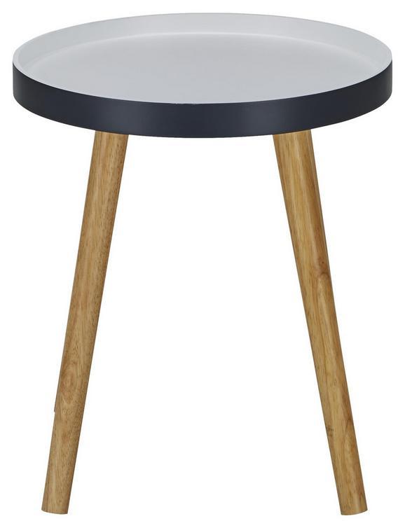 Beistelltisch in Weiß/Eiche/dunkelgrau - Dunkelgrau/Eichefarben, MODERN, Holz (40/43cm) - Mömax modern living