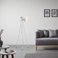 Stehleuchte max. 60 Watt 'Sven' - Weiß, MODERN, Metall (60/60/150cm) - Bessagi Home