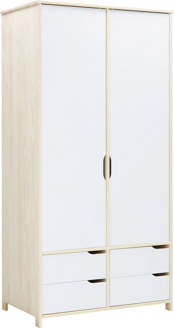 Drehtürenschrank Natur/Weiß - Weiß/Naturfarben, MODERN, Holz (100/200/60cm) - Zandiara