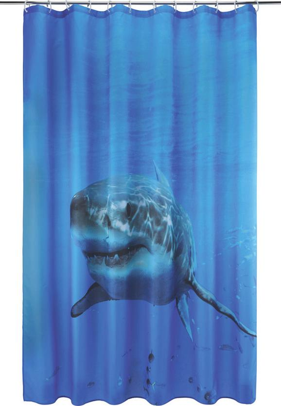 Duschvorhang Hai Blau 180x200cm - Blau/Weiß, Textil (180/200cm) - Mömax modern living