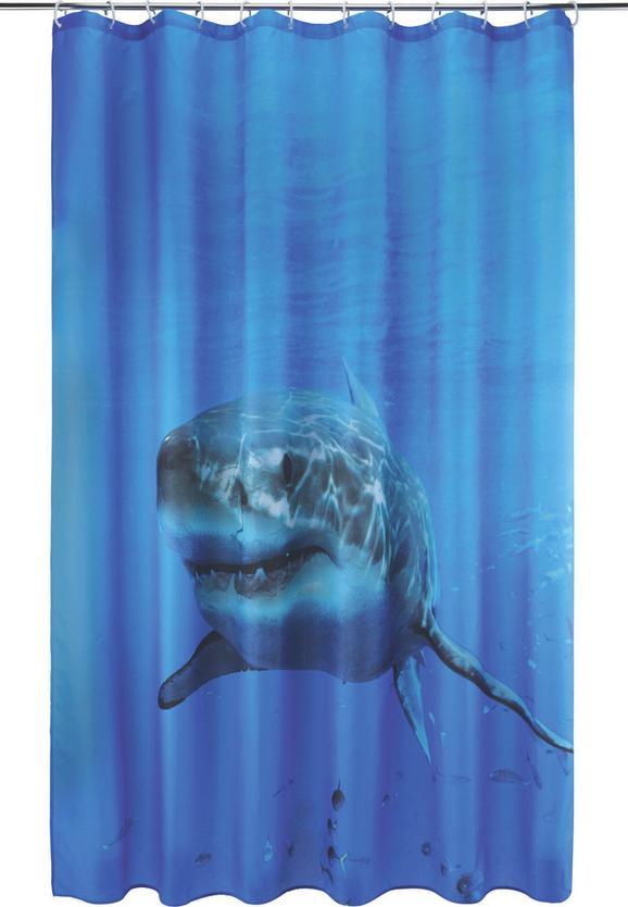 Zuhanyfüggöny Hai - kék/fehér, textil (180/200cm) - MÖMAX modern living