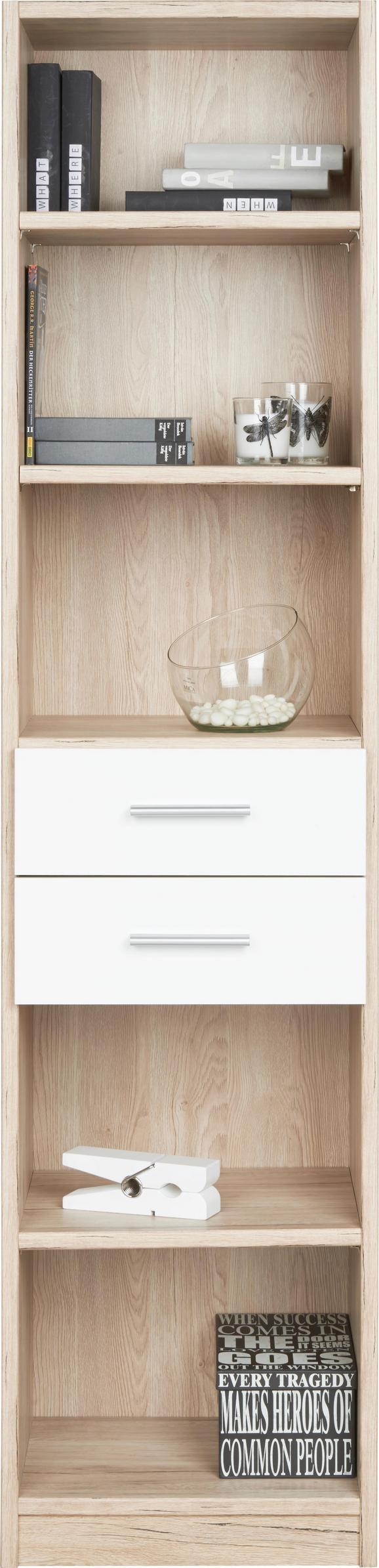 Regal in Weiß/Eiche - Eichefarben/Weiß, Holz/Holzwerkstoff (47/197/38cm) - MODERN LIVING