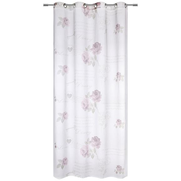 Perdea Cu Inele Tip Capsă Diary Rose - alb, Romantik / Landhaus, textil (140/245cm) - Modern Living