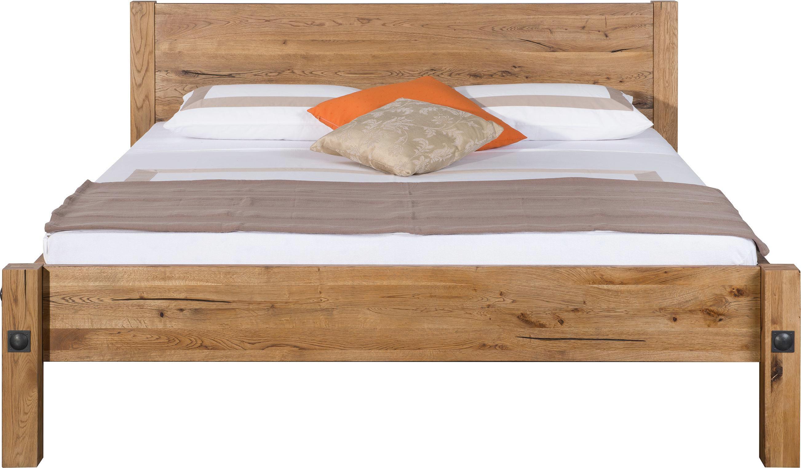 Bett in Eiche, ca. 180x200cm - Eichefarben, Holz/Weitere Naturmaterialien (216/197/93cm) - ZANDIARA