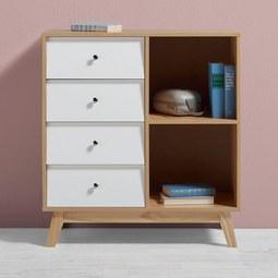 Kommode Enny - Weiß/Pinienfarben, MODERN, Holz/Metall (80/88/35cm) - Mömax modern living