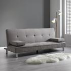 Sofa Esther mit Schlaffuntkion inkl. Kissen - Chromfarben/Grau, MODERN, Textil/Metall (200/82/89cm) - Mömax modern living