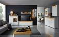 Sideboard Weiß/Eiche - Chromfarben/Eichefarben, MODERN, Holzwerkstoff/Kunststoff (160/96,5/40cm) - Modern Living