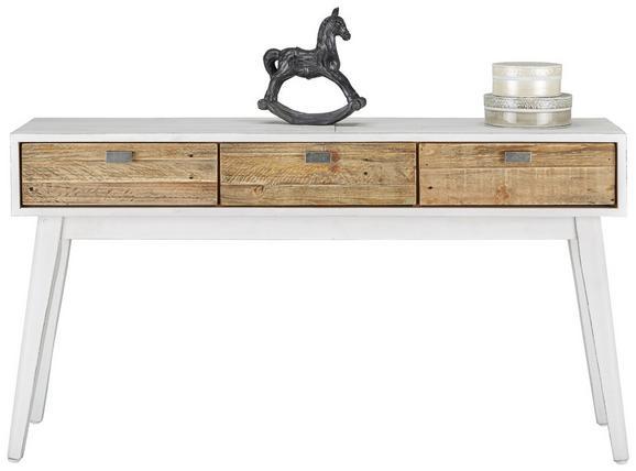 Konsole in Weiß/Naturfarben - Naturfarben/Weiß, ROMANTIK / LANDHAUS, Holz (140/75/35cm) - PREMIUM LIVING