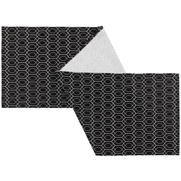 Asztali Futó Blacky - Fehér/Fekete, Lifestyle, Textil (45/150cm) - Mömax modern living