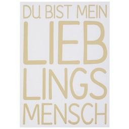 Postkarte Lieblingsmensch - Goldfarben/Schwarz, MODERN, Papier (10,5/14,8cm)