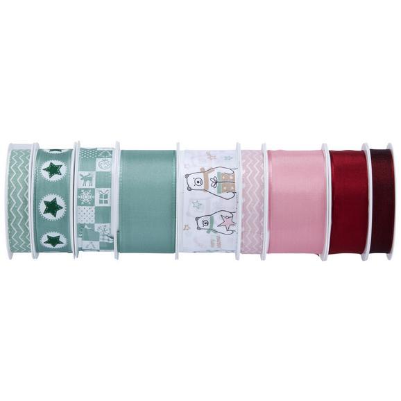Ajándékcsomagoló Szalag Sam - Világoszöld/Fáradt rózsaszín, konvencionális, Textil (8,5/8,5/2,6cm)