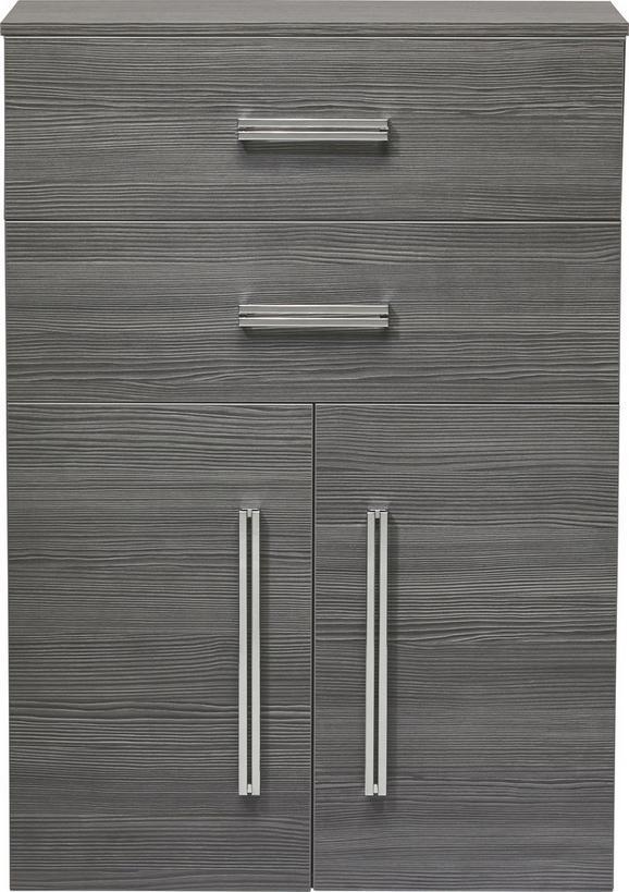 Midischrank In Pinie-anthrazit-optik - Chromfarben/Mooreichefarben, MODERN, Glas/Holzwerkstoff (70,5/101/32cm) - premium living