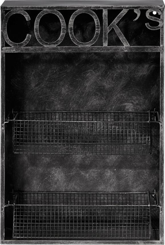 Konyhai Polc Cooks - fekete, fém (41/62/12cm)