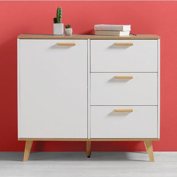 Kommode Claire - Eichefarben/Weiß, MODERN, Holz (96/85/42cm) - Modern Living