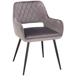 Stuhl in Grau - Schwarz/Grau, MODERN, Textil/Metall (55/80,5/59,5cm) - Modern Living
