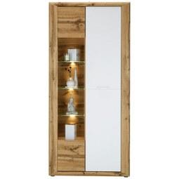 Vitrine in Eichefarben - Eichefarben/Silberfarben, KONVENTIONELL, Glas/Holzwerkstoff (91/198/35cm) - Modern Living