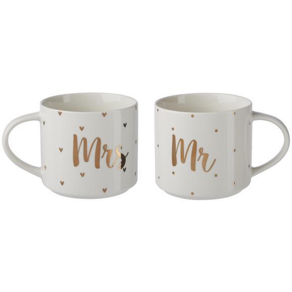 Kaffeetasse Marry ca. 480ml, 2er Set - Goldfarben/Weiß, MODERN, Keramik (10/8,8cm) - Premium Living