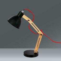 Namizna Svetilka Omar - črna/barve hrasta, Trendi, kovina/les (20/47cm) - MÖMAX modern living