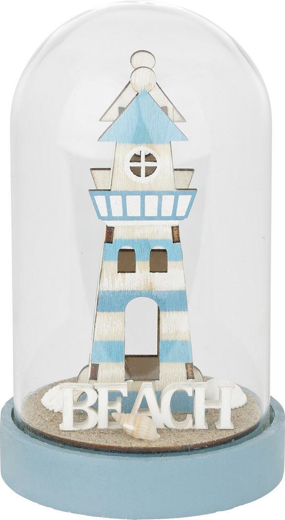 Dekokugel Frank in verschiedenen Designs - Weiß/Hellblau, LIFESTYLE, Glas/Holz (9/16/9cm)