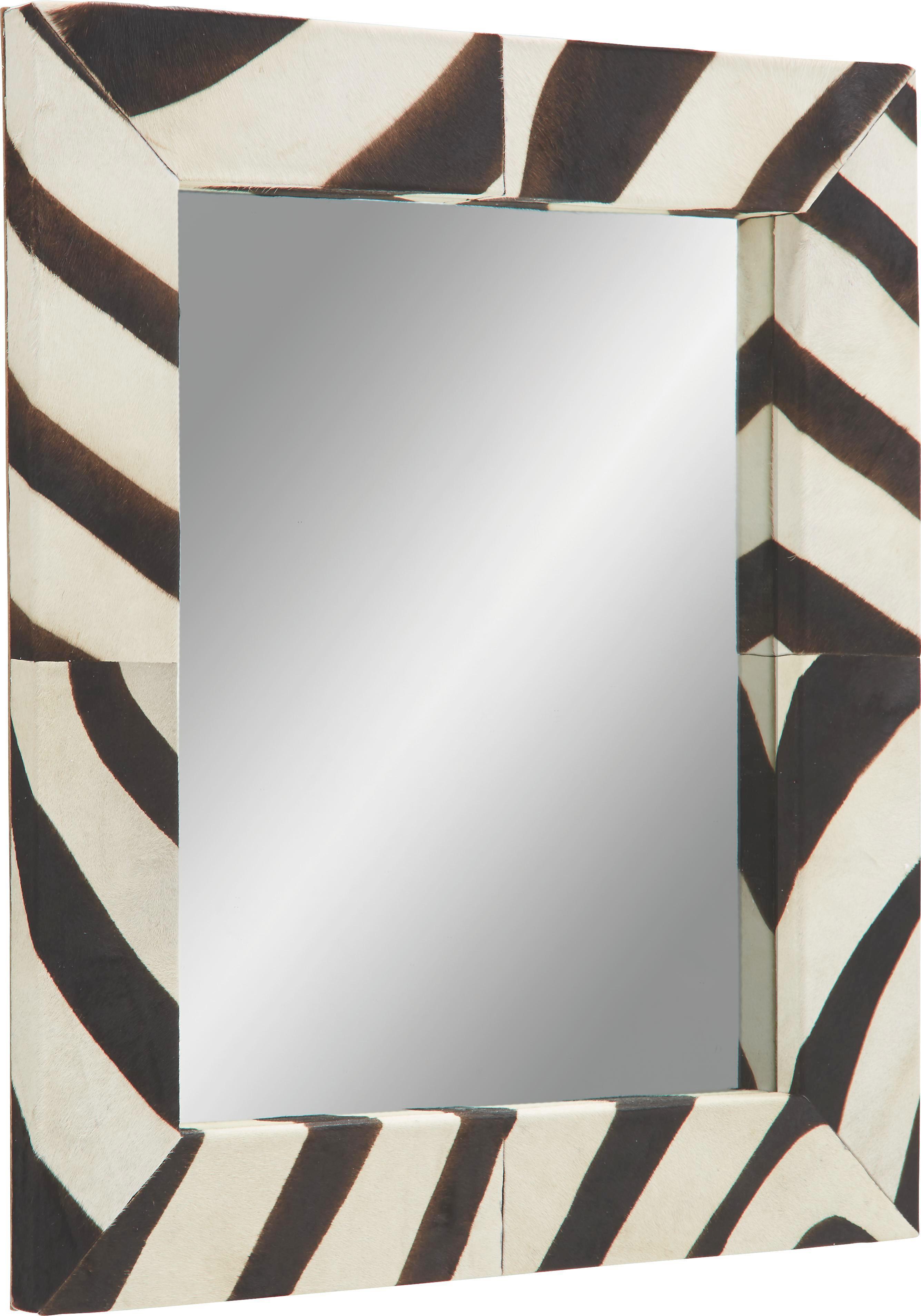 Wandspiegel ca. 67x76x4cm - Schwarz/Weiß, LIFESTYLE, Glas/Leder (67/76/4cm) - PREMIUM LIVING