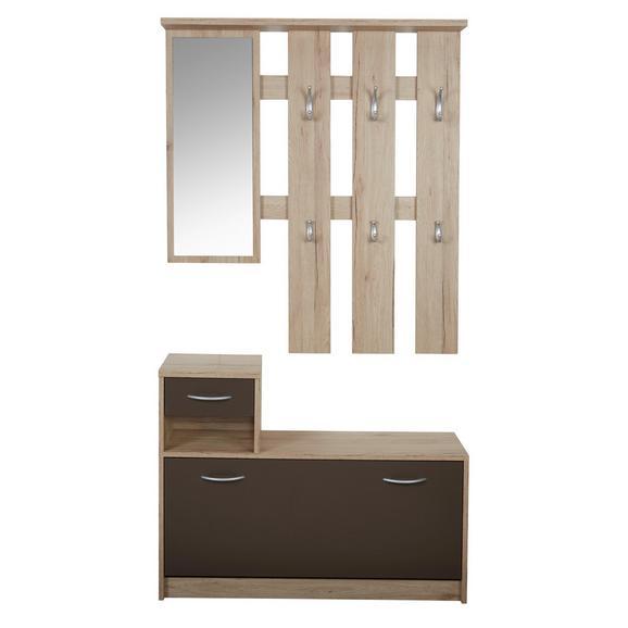 Cuier Iza - maro/culoare lemn stejar, Konventionell, sticlă/compozit lemnos (100/190/26cm)