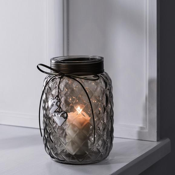 Windlicht Keno Ø/h ca. 14,5/20,5 cm - Hellgrau, MODERN, Glas (14,5/20,5cm) - Mömax modern living