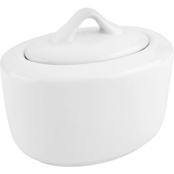 Zuckerdose Adria aus Porzellan - Weiß, KONVENTIONELL, Keramik (14/9,5cm) - Mömax modern living