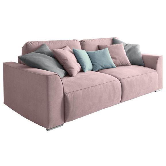 Sofa mit Schlaffunktion in Pink 'Lazy 3DL' - Pink/Silberfarben, Design, Holzwerkstoff/Kunststoff (250/87/129cm) - Livetastic