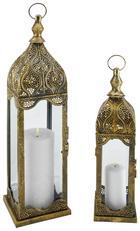 Laterna Aladin - bron, kovina/steklo (15/54/15cm)