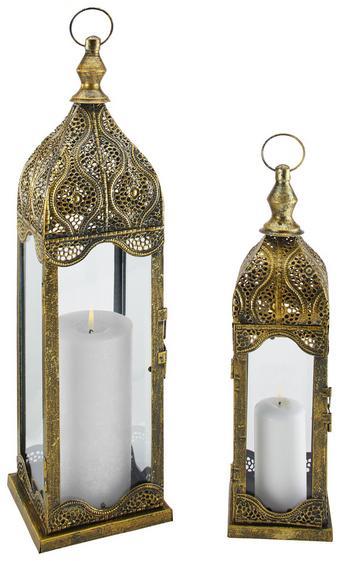 Laterna Aladin - bron, kovina/steklo (11,6/40/11,6cm)