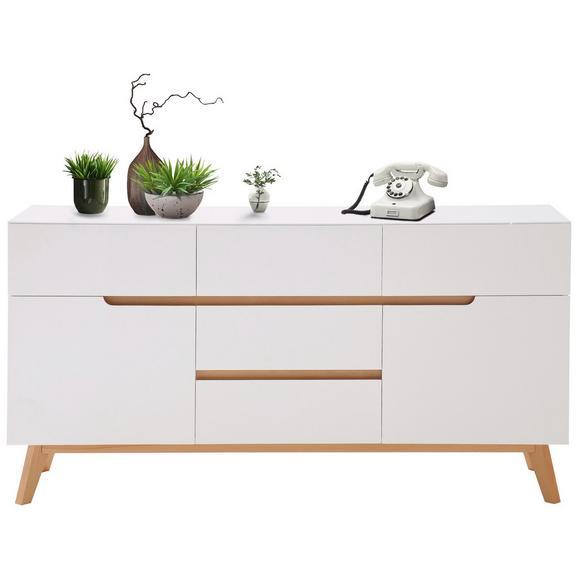 Sideboard in Weiß/Eichefarben - Edelstahlfarben/Eichefarben, MODERN, Holz/Holzwerkstoff (145/76/41cm) - Premium Living
