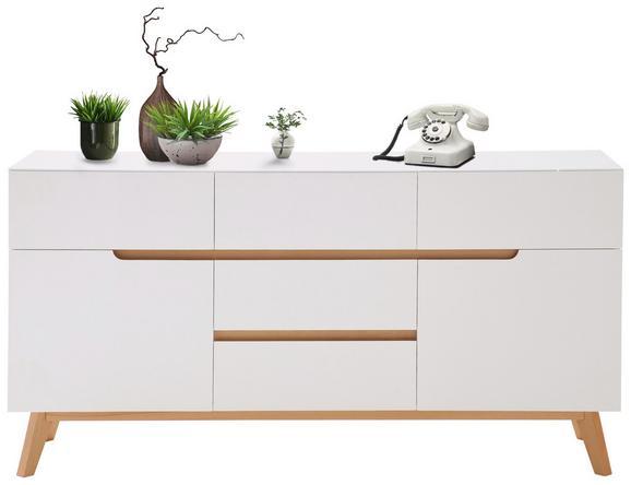 Sideboard Weiß/Eichefarben - Edelstahlfarben/Eichefarben, MODERN, Holz/Holzwerkstoff (145/76/41cm) - PREMIUM LIVING