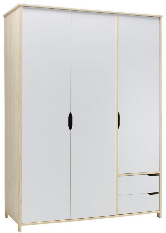 Drehtürenschrank Natur/Weiß - Weiß/Naturfarben, MODERN, Holz (146/200/60cm) - Zandiara