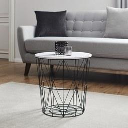 Couchtisch Josie mit Stauraum ca.40x41cm - Schwarz/Weiß, MODERN, Holz/Metall (40/41cm) - Modern Living