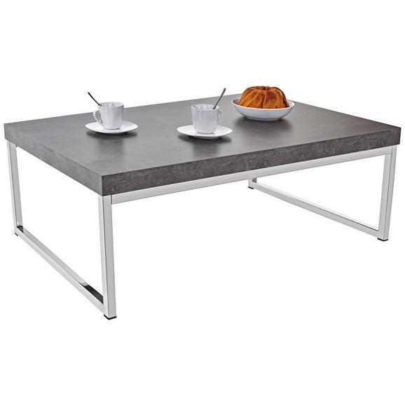 Dohányzóasztal Genova - Sötétszürke/Ezüst, modern, Faalapú anyag/Fém (107/36/67cm)
